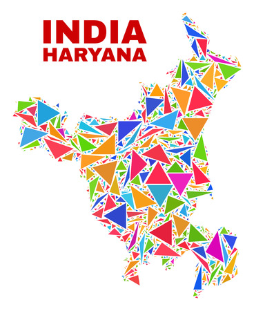 Mosaic Haryana State map of triangles in bright colors isolated on a white background. Triangular collage in shape of Haryana State map. Abstract design for patriotic purposes. Illustration
