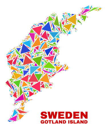 Mosaic Gotland Island map of triangles in bright colors isolated on a white background. Triangular collage in shape of Gotland Island map. Abstract design for patriotic decoration.