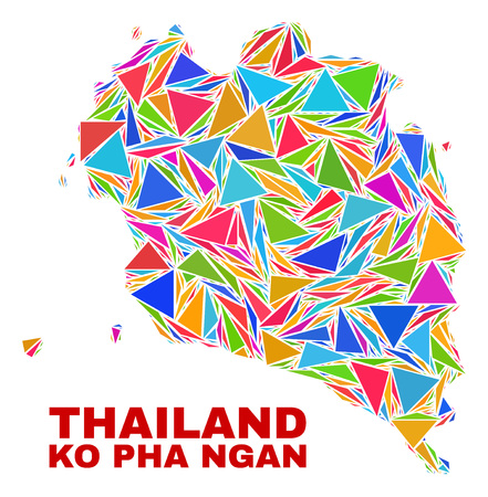 Mosaic Ko Pha Ngan map of triangles in bright colors isolated on a white background. Triangular collage in shape of Ko Pha Ngan map. Abstract design for patriotic purposes.