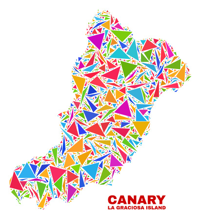 Mosaic La Graciosa Island map of triangles in bright colors isolated on a white background. Triangular collage in shape of La Graciosa Island map. Abstract design for patriotic decoration.