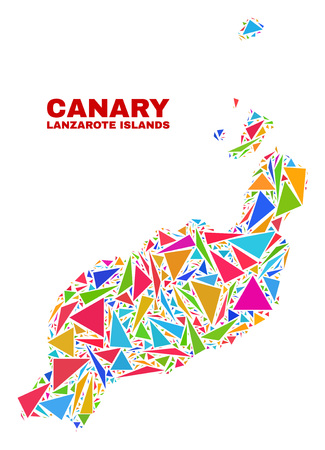 Mosaic Lanzarote Islands map of triangles in bright colors isolated on a white background. Triangular collage in shape of Lanzarote Islands map. Abstract design for patriotic purposes. Vettoriali