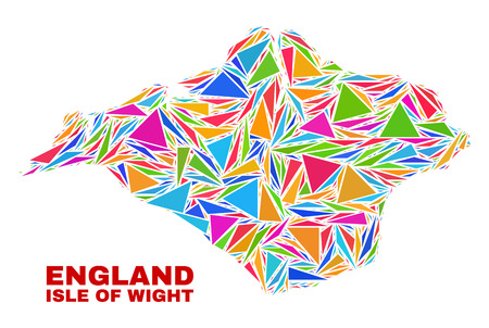 Mosaic Isle of Wight map of triangles in bright colors isolated on a white background. Triangular collage in shape of Isle of Wight map. Abstract design for patriotic illustrations. Vetores