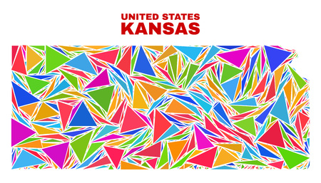 Mosaic Kansas State map of triangles in bright colors isolated on a white background. Triangular collage in shape of Kansas State map. Abstract design for patriotic decoration.