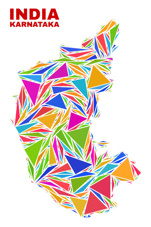 Mosaic Karnataka State map of triangles in bright colors isolated on a white background. Triangular collage in shape of Karnataka State map. Abstract design for patriotic decoration. Stock Vector - 120067259