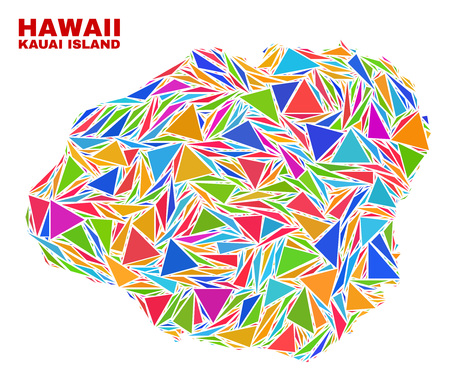 Mosaic Kauai Island map of triangles in bright colors isolated on a white background. Triangular collage in shape of Kauai Island map. Abstract design for patriotic purposes.