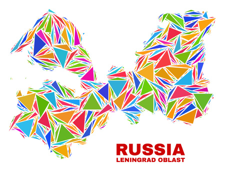 Mosaic Leningrad Region map of triangles in bright colors isolated on a white background. Triangular collage in shape of Leningrad Region map. Abstract design for patriotic illustrations. 矢量图像