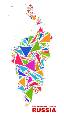 Mosaic Krasnoyarskiy Kray map of triangles in bright colors isolated on a white background. Triangular collage in shape of Krasnoyarskiy Kray map. Abstract design for patriotic purposes.