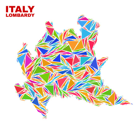 Mosaic Lombardy region map of triangles in bright colors isolated on a white background. Triangular collage in shape of Lombardy region map. Abstract design for patriotic illustrations. Vettoriali