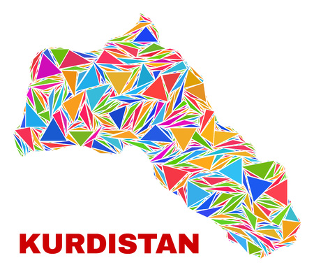 Mosaic Kurdistan map of triangles in bright colors isolated on a white background. Triangular collage in shape of Kurdistan map. Abstract design for patriotic illustrations.