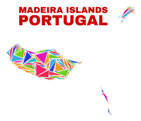 Mosaic Madeira Islands map of triangles in bright colors isolated on a white background. Triangular collage in shape of Madeira Islands map. Abstract design for patriotic decoration.