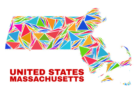 Mosaic Massachusetts State map of triangles in bright colors isolated on a white background. Triangular collage in shape of Massachusetts State map. Abstract design for patriotic illustrations.