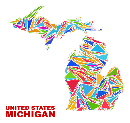Mosaic Michigan State map of triangles in bright colors isolated on a white background. Triangular collage in shape of Michigan State map. Abstract design for patriotic purposes. Çizim