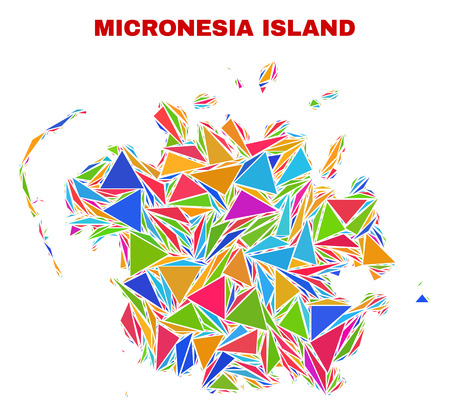 Mosaic Micronesia island map of triangles in bright colors isolated on a white background. Triangular collage in shape of Micronesia island map. Abstract design for patriotic illustrations.