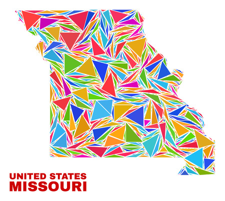 Mosaic Missouri State map of triangles in bright colors isolated on a white background. Triangular collage in shape of Missouri State map. Abstract design for patriotic decoration. Ilustração