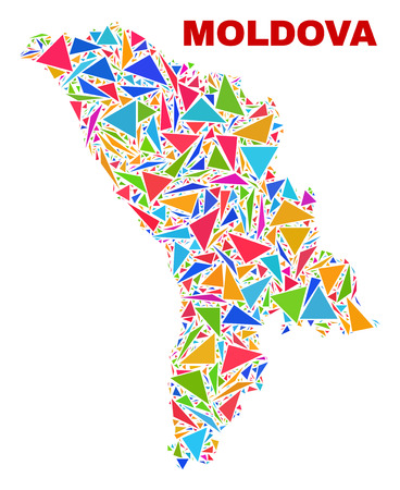 Mosaic Moldova map of triangles in bright colors isolated on a white background. Triangular collage in shape of Moldova map. Abstract design for patriotic illustrations.