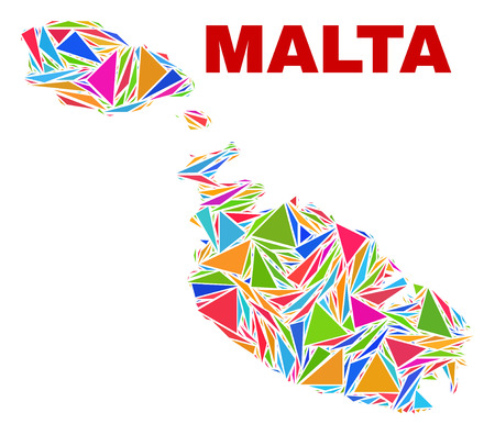 Mosaic Malta map of triangles in bright colors isolated on a white background. Triangular collage in shape of Malta map. Abstract design for patriotic decoration.