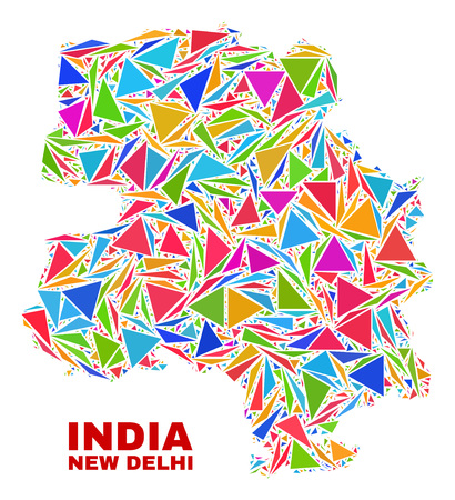 Mosaic New Delhi City map of triangles in bright colors isolated on a white background. Triangular collage in shape of New Delhi City map. Abstract design for patriotic decoration.