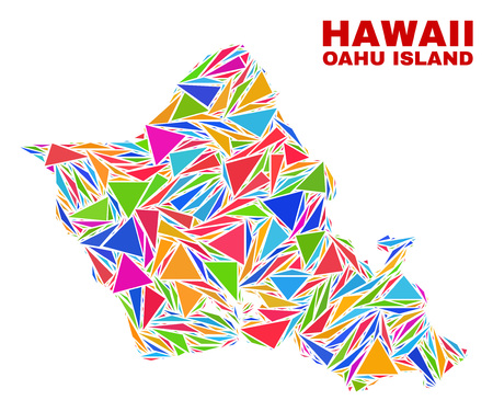 Mosaic Oahu Island map of triangles in bright colors isolated on a white background. Triangular collage in shape of Oahu Island map. Abstract design for patriotic purposes. 矢量图像