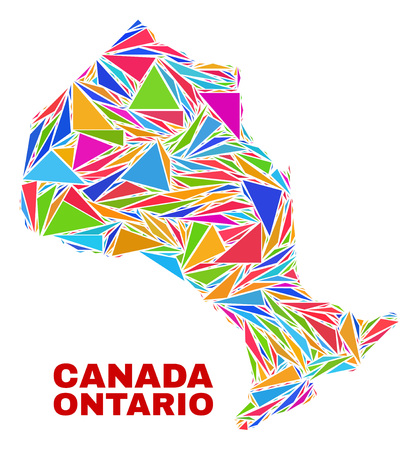 Mosaic Ontario Province map of triangles in bright colors isolated on a white background. Triangular collage in shape of Ontario Province map. Abstract design for patriotic decoration.