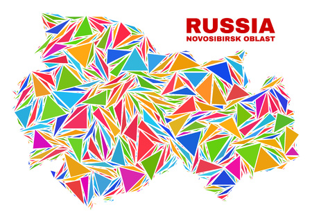 Mosaic Novosibirsk Region map of triangles in bright colors isolated on a white background. Triangular collage in shape of Novosibirsk Region map. Abstract design for patriotic illustrations.  イラスト・ベクター素材