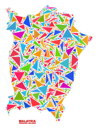 Mosaic Penang Island map of triangles in bright colors isolated on a white background. Triangular collage in shape of Penang Island map. Abstract design for patriotic decoration. Illustration