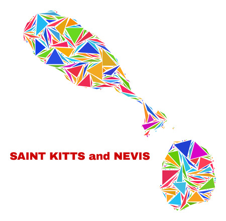 Mosaic Saint Kitts and Nevis map of triangles in bright colors isolated on a white background. Triangular collage in shape of Saint Kitts and Nevis map. Abstract design for patriotic decoration. Illustration