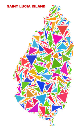 Mosaic Saint Lucia Island map of triangles in bright colors isolated on a white background. Triangular collage in shape of Saint Lucia Island map. Abstract design for patriotic decoration. Illustration