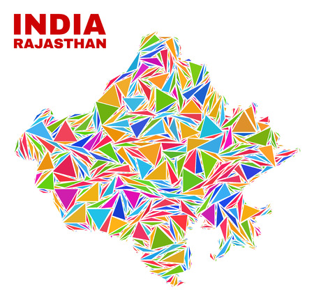 Mosaic Rajasthan State map of triangles in bright colors isolated on a white background. Triangular collage in shape of Rajasthan State map. Abstract design for patriotic purposes. 일러스트