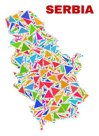 Mosaic Serbia map of triangles in bright colors isolated on a white background. Triangular collage in shape of Serbia map. Abstract design for patriotic decoration. Ilustração