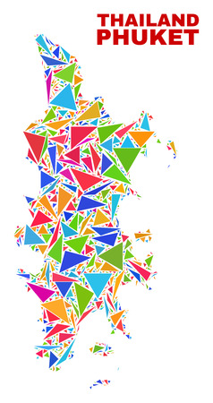 Mosaic Phuket map of triangles in bright colors isolated on a white background. Triangular collage in shape of Phuket map. Abstract design for patriotic purposes.