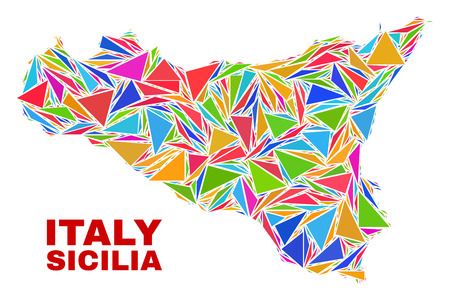 Mosaic Sicilia map of triangles in bright colors isolated on a white background. Triangular collage in shape of Sicilia map. Abstract design for patriotic illustrations.