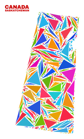 Mosaic Saskatchewan Province map of triangles in bright colors isolated on a white background. Triangular collage in shape of Saskatchewan Province map. Abstract design for patriotic purposes. Illustration