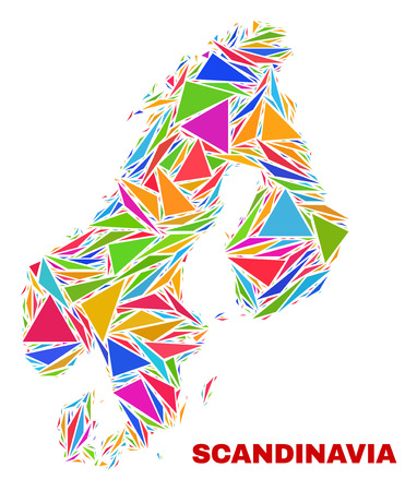 Mosaic Scandinavia map of triangles in bright colors isolated on a white background. Triangular collage in shape of Scandinavia map. Abstract design for patriotic illustrations.
