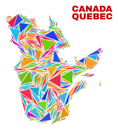 Mosaic Quebec Province map of triangles in bright colors isolated on a white background. Triangular collage in shape of Quebec Province map. Abstract design for patriotic purposes.