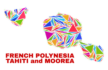Mosaic Tahiti and Moorea islands map of triangles in bright colors isolated on a white background. Triangular collage in shape of Tahiti and Moorea islands map. Abstract design for patriotic purposes.