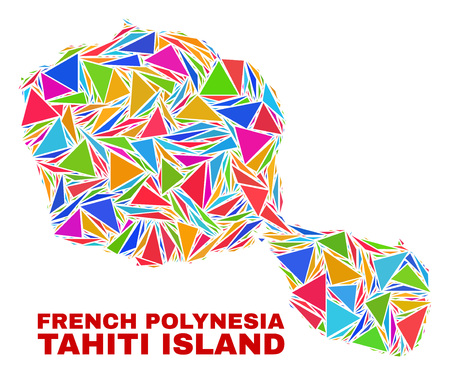Mosaic Tahiti Island map of triangles in bright colors isolated on a white background. Triangular collage in shape of Tahiti Island map. Abstract design for patriotic decoration.