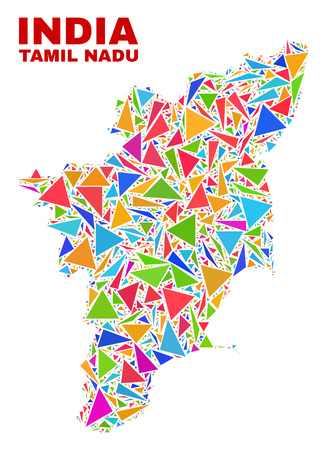 Mosaic Tamil Nadu State map of triangles in bright colors isolated on a white background. Triangular collage in shape of Tamil Nadu State map. Abstract design for patriotic illustrations.