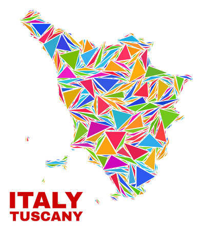 Mosaic Tuscany region map of triangles in bright colors isolated on a white background. Triangular collage in shape of Tuscany region map. Abstract design for patriotic purposes.  イラスト・ベクター素材