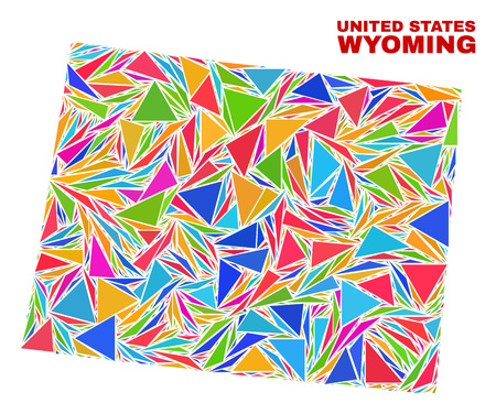 Mosaic Wyoming State map of triangles in bright colors isolated on a white background. Triangular collage in shape of Wyoming State map. Abstract design for patriotic decoration.