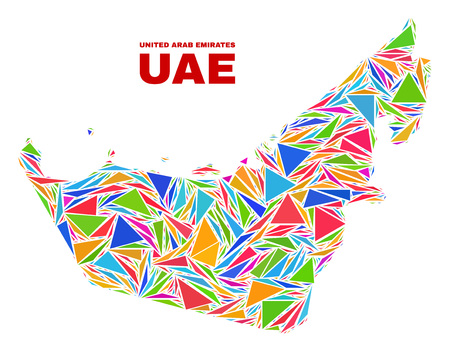 Mosaic United Arab Emirates map of triangles in bright colors isolated on a white background. Triangular collage in shape of United Arab Emirates map. Abstract design for patriotic decoration.