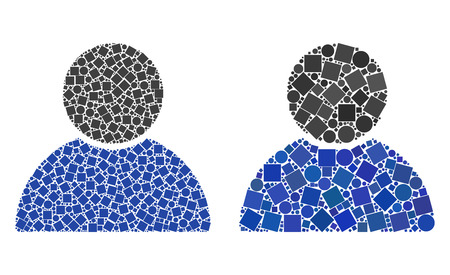 Mosaic Customer profile icons designed from round and square items in variable sizes, positions and proportions. Vetores