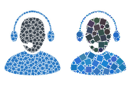 Mosaic Call center worker icons organized from round and square items in random sizes, positions and proportions. Vector round and square dots are united into abstract mosaic call center worker icons.