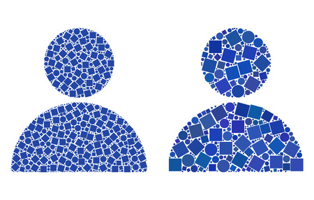 Collage Man profile icons composed of circle and square items in variable sizes, positions and proportions. Vector circle and square elements are arranged into abstract collage man profile icons.