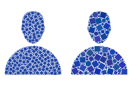 Mosaic Man icons organized from round and square items in random sizes, positions and proportions. Vector circle and square items are organized into abstract illustration man icons.