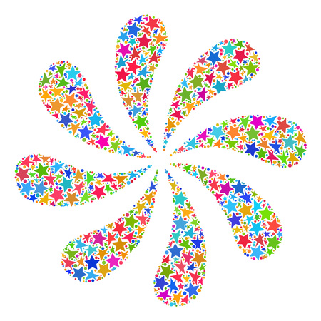 Mosaic flower fireworks designed with colored flat stars, and small round dots. Raster colored abstraction of flower fireworks. Festive design for celebration illustrations.