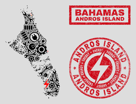 Composition of mosaic power supply Andros Island of Bahamas map and grunge watermarks. Mosaic vector Andros Island of Bahamas map is designed with repair and bulb symbols. Black and red colors used.