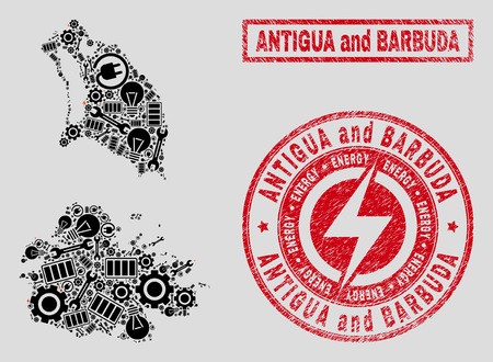 Composition of mosaic electric Antigua and Barbuda map and grunge stamps. Mosaic vector Antigua and Barbuda map is created with repair and electric symbols. Black and red colors used.