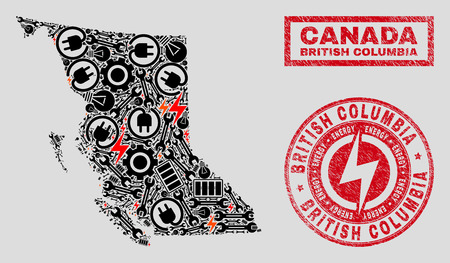Composition of mosaic power supply British Columbia map and grunge watermarks. Mosaic vector British Columbia map is composed with gear and power symbols. Black and red colors used. 일러스트