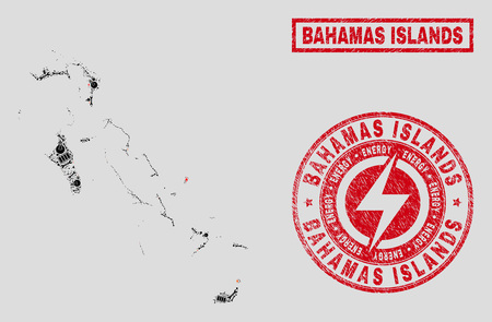 Composition of mosaic power supply Bahamas Islands map and grunge stamp seals. Mosaic vector Bahamas Islands map is composed with repair and lamp elements. Black and red colors used.