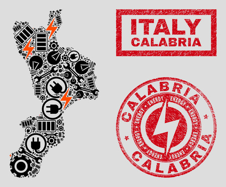 Composition of mosaic power supply Calabria region map and grunge stamps. Collage vector Calabria region map is designed with gear and power icons. Black and red colors used. Illustration
